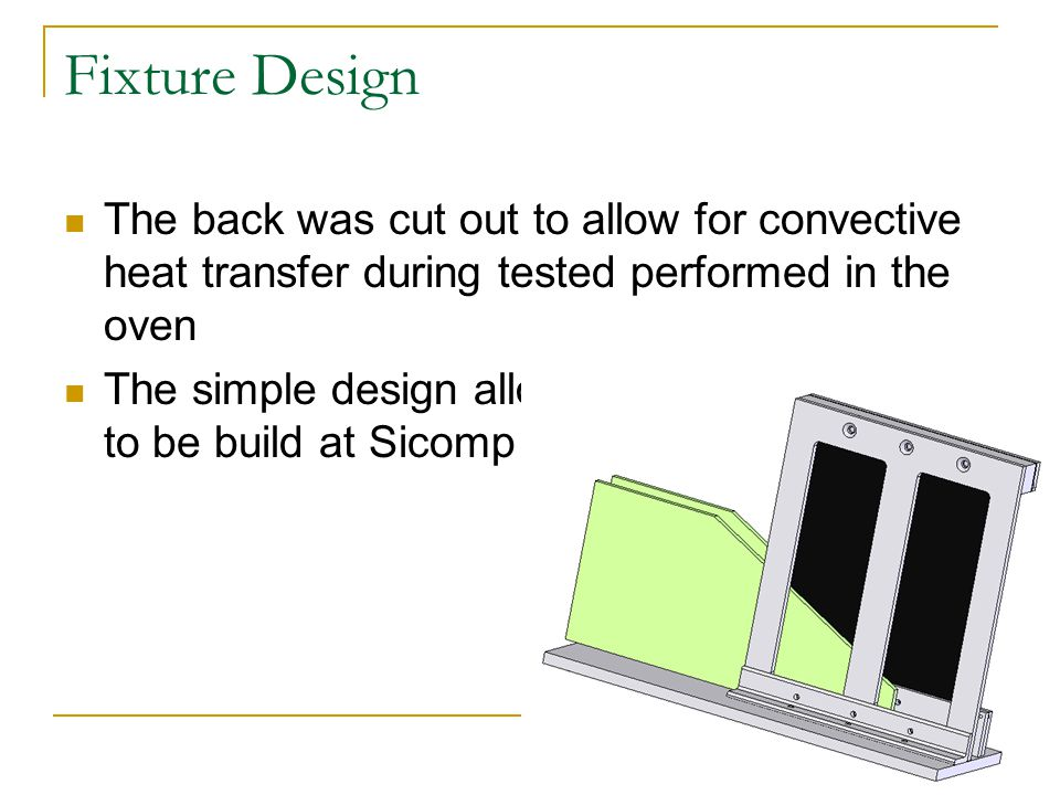 Fixture Design The back was cut out to allow for convective heat transfer during tested performed in the oven The simple design allowed most of the fixture to be build at Sicomp