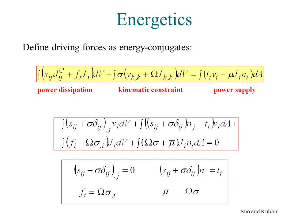 Energetics Define driving forces as energy-conjugates: Suo and Kubair power dissipationpower supplykinematic constraint