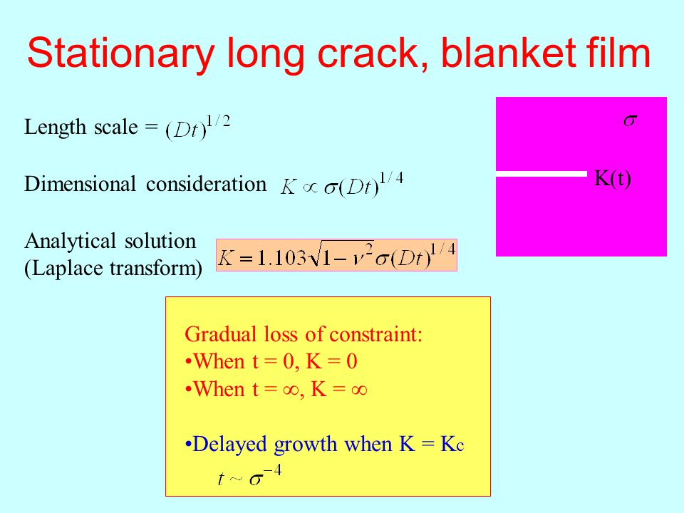 Stationary long crack, blanket film Length scale = K(t) Dimensional consideration Analytical solution (Laplace transform) Gradual loss of constraint: When t = 0, K = 0 When t = ∞, K = ∞ Delayed growth when K = K c