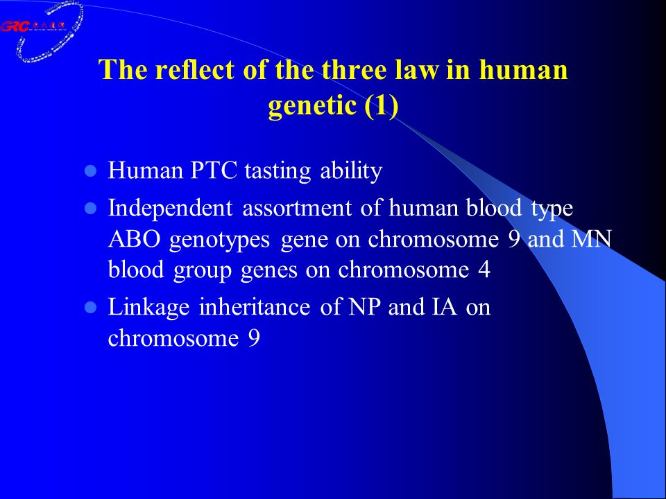The reflect of the three law in human genetic (1) Human PTC tasting ability Independent assortment of human blood type ABO genotypes gene on chromosom