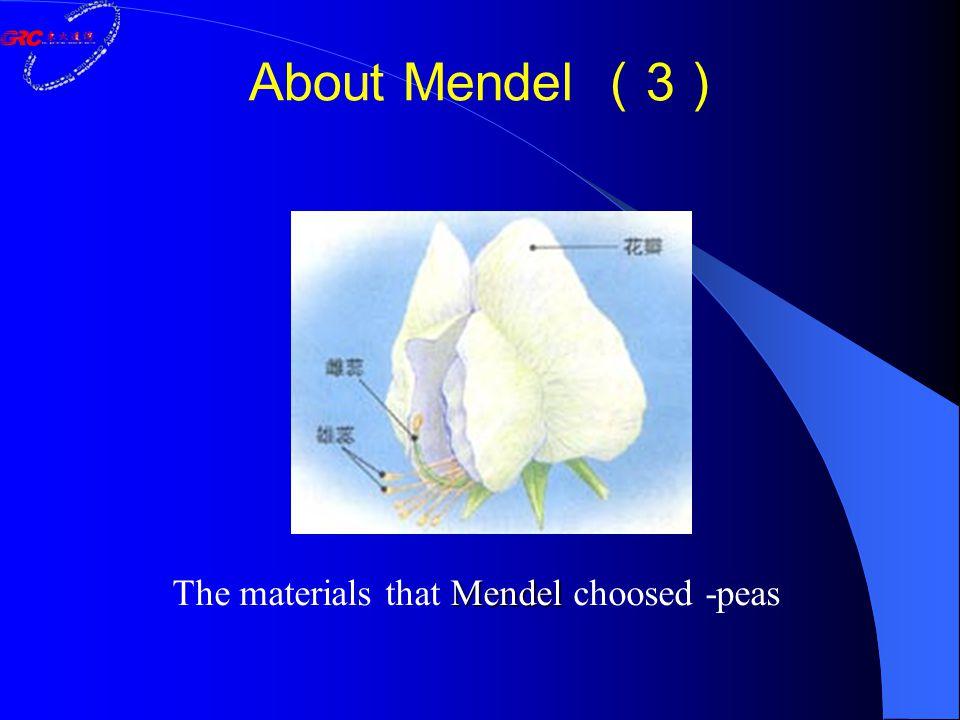 About Mendel ( 3 ) Mendel The materials that Mendel choosed -peas
