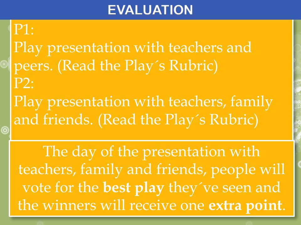 P1: Play presentation with teachers and peers.