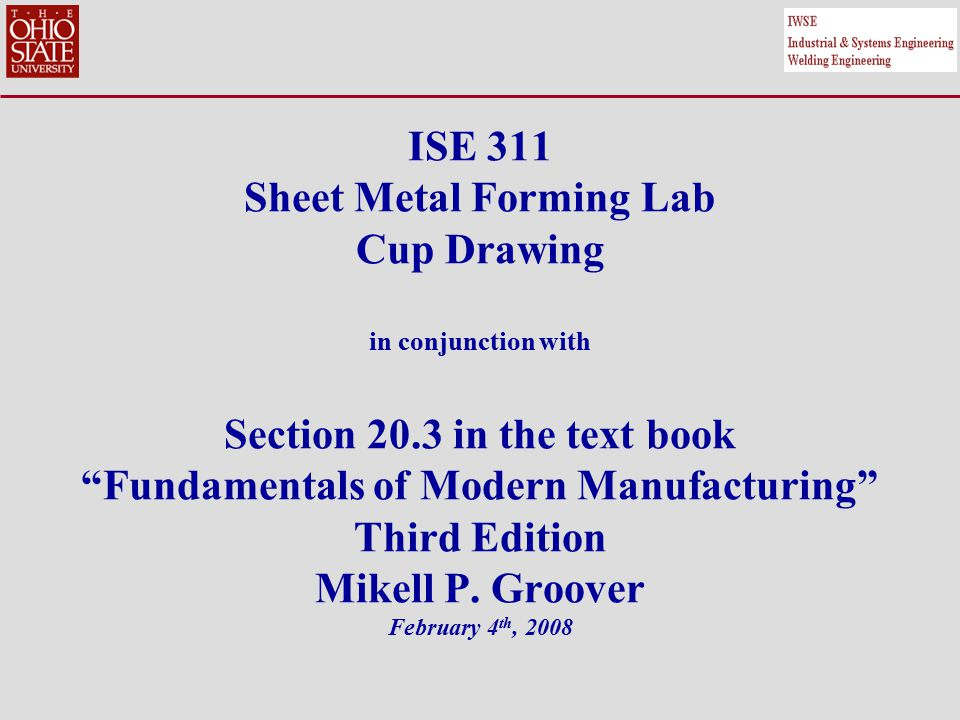 2 Outline Introduction Mechanics of Drawing Engineering Analysis of Drawing Defects in Drawing Objectives of the Lab Sheet Metal Forming (Material and Equipment) Sheet Metal Forming (FE simulations) Summary