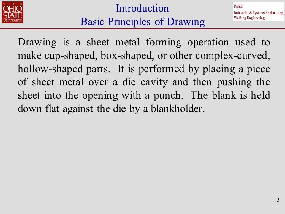 4 A blank of diameter D b is drawn into the die by means of a punch of diameter D p.