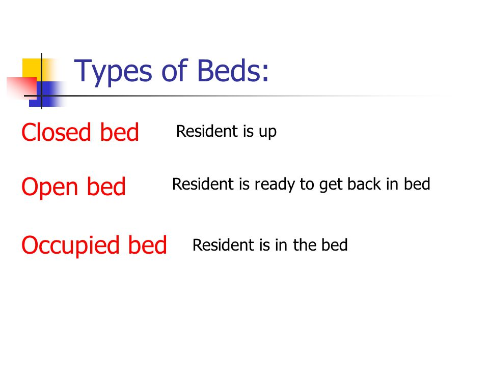 Types of Beds: Closed bed Open bed Occupied bed Resident is up Resident is ready to get back in bed Resident is in the bed