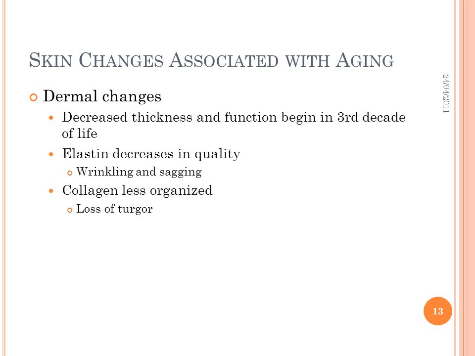 S KIN C HANGES A SSOCIATED WITH A GING Dermal changes Decreased thickness and function begin in 3rd decade of life Elastin decreases in quality Wrinkl