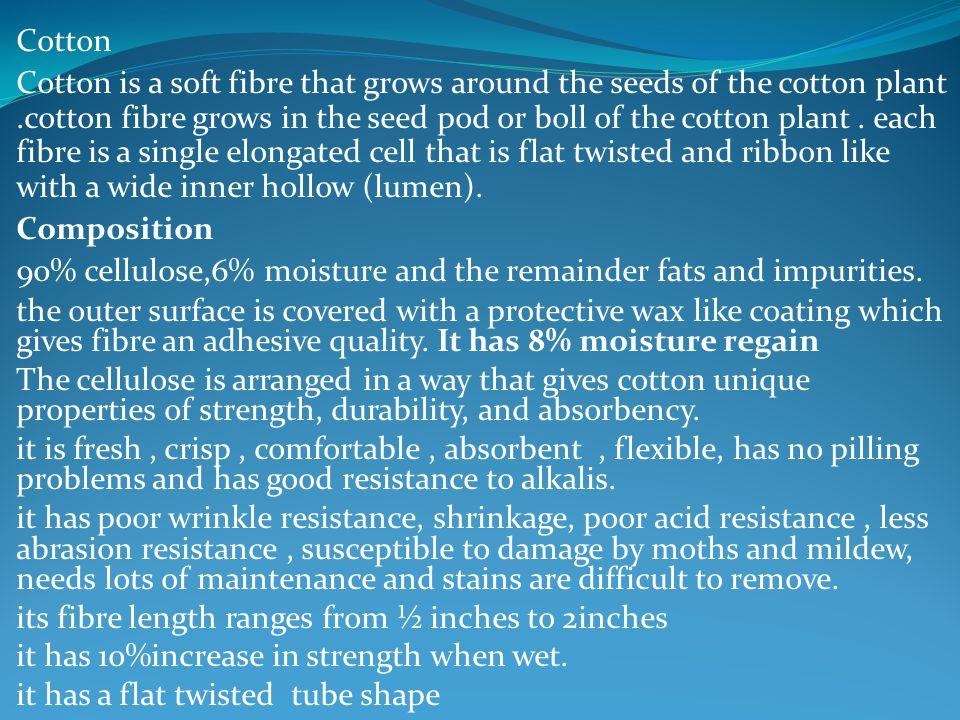 Cotton Cotton is a soft fibre that grows around the seeds of the cotton plant.cotton fibre grows in the seed pod or boll of the cotton plant. each fib