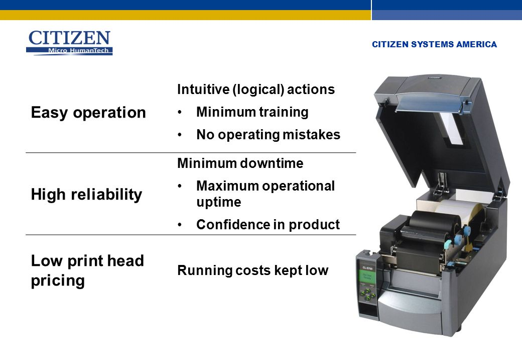 CITIZEN SYSTEMS AMERICA Hi-Open™ case Does not increase footprint of printer Ideal for tight spaces Against walls Safe case opening Stays open Does not slam shut and trap fingers.