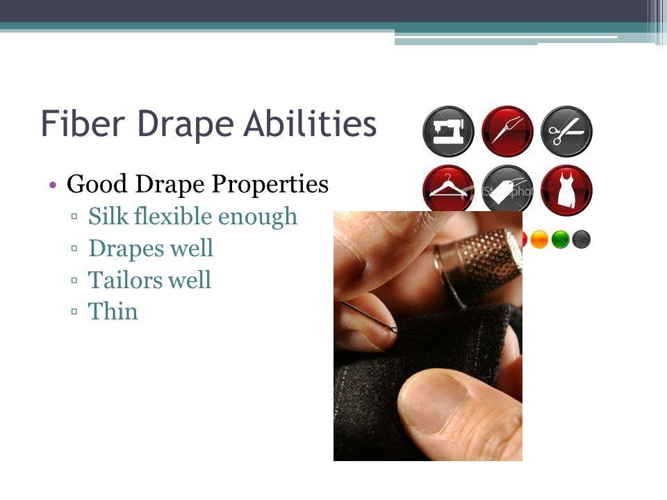 Fiber Drape Abilities Good Drape Properties ▫Silk flexible enough ▫Drapes well ▫Tailors well ▫Thin