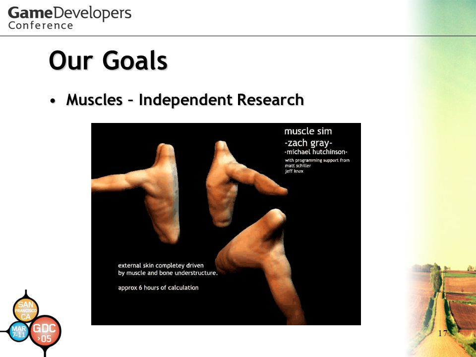 17 Our Goals Muscles – Independent ResearchMuscles – Independent Research