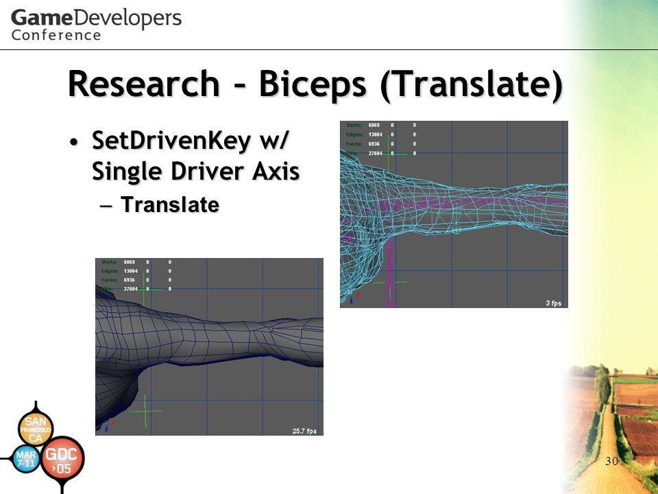 30 Research – Biceps (Translate) SetDrivenKey w/ Single Driver AxisSetDrivenKey w/ Single Driver Axis –Translate
