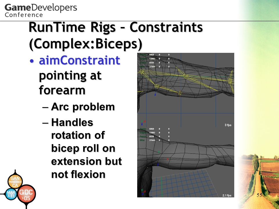 55 RunTime Rigs – Constraints (Complex:Biceps) aimConstraint pointing at forearmaimConstraint pointing at forearm –Arc problem –Handles rotation of bi