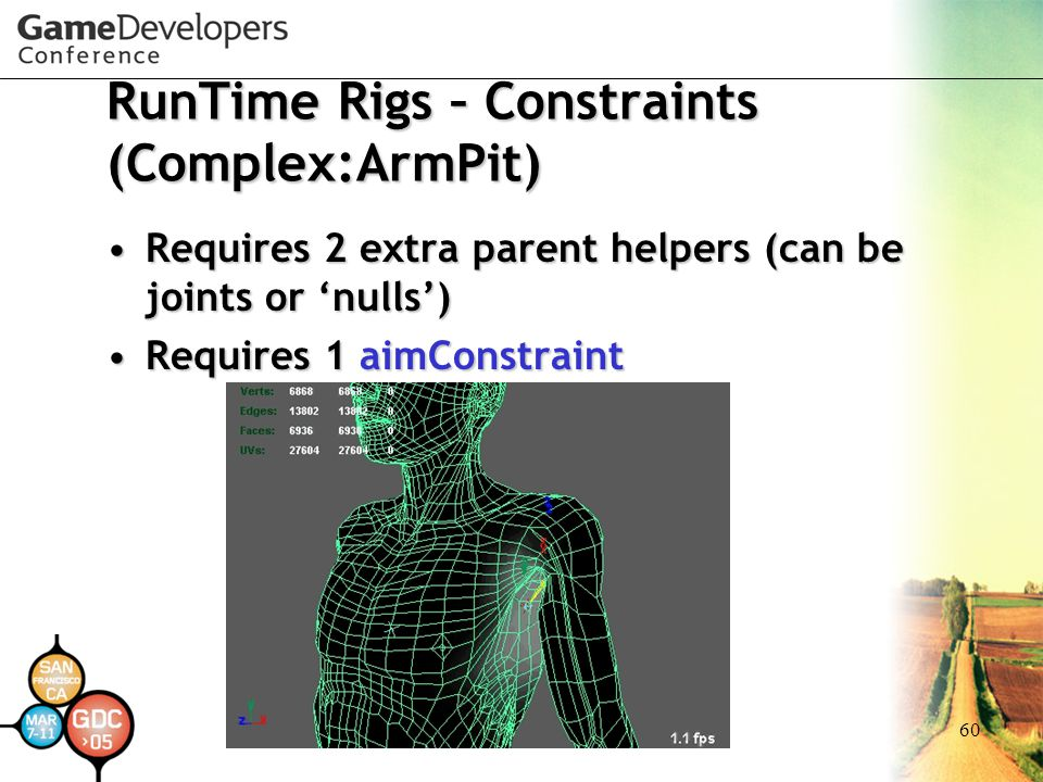 60 RunTime Rigs – Constraints (Complex:ArmPit) Requires 2 extra parent helpers (can be joints or 'nulls')Requires 2 extra parent helpers (can be joint