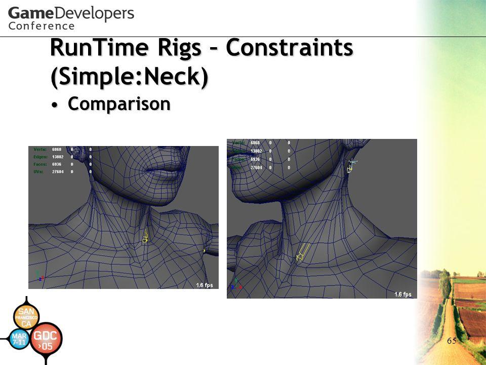 65 RunTime Rigs – Constraints (Simple:Neck) ComparisonComparison