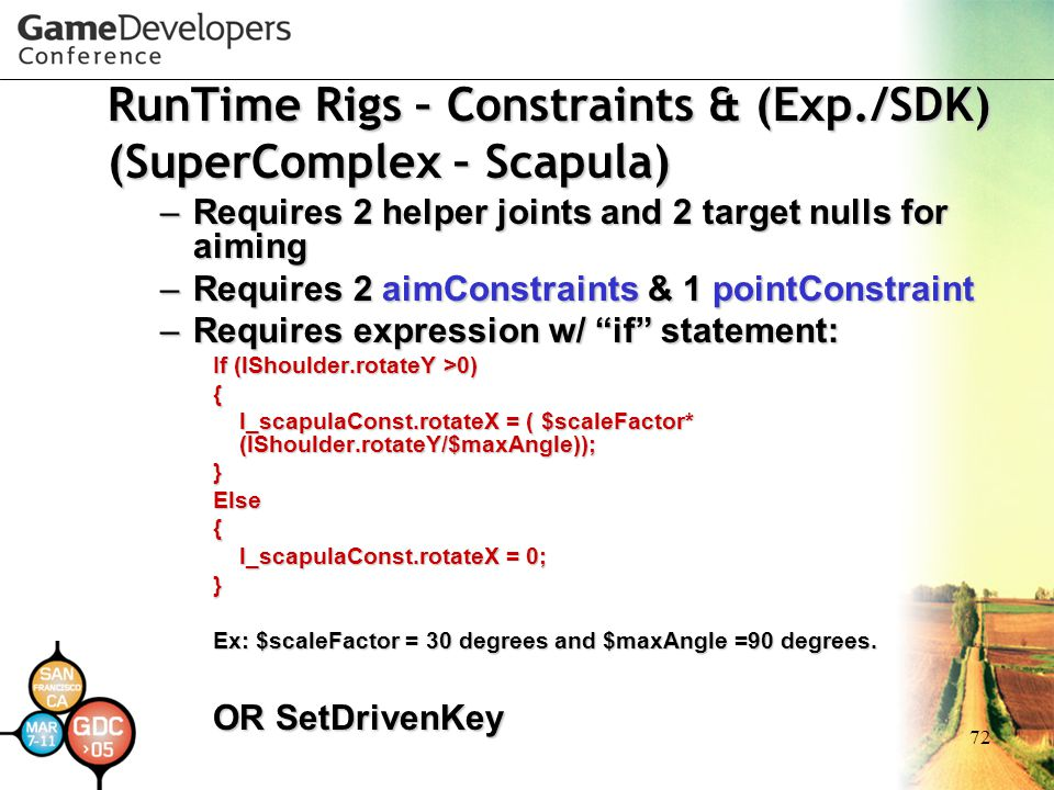 72 RunTime Rigs – Constraints & (Exp./SDK) (SuperComplex – Scapula) – Requires 2 helper joints and 2 target nulls for aiming – Requires 2 aimConstrain
