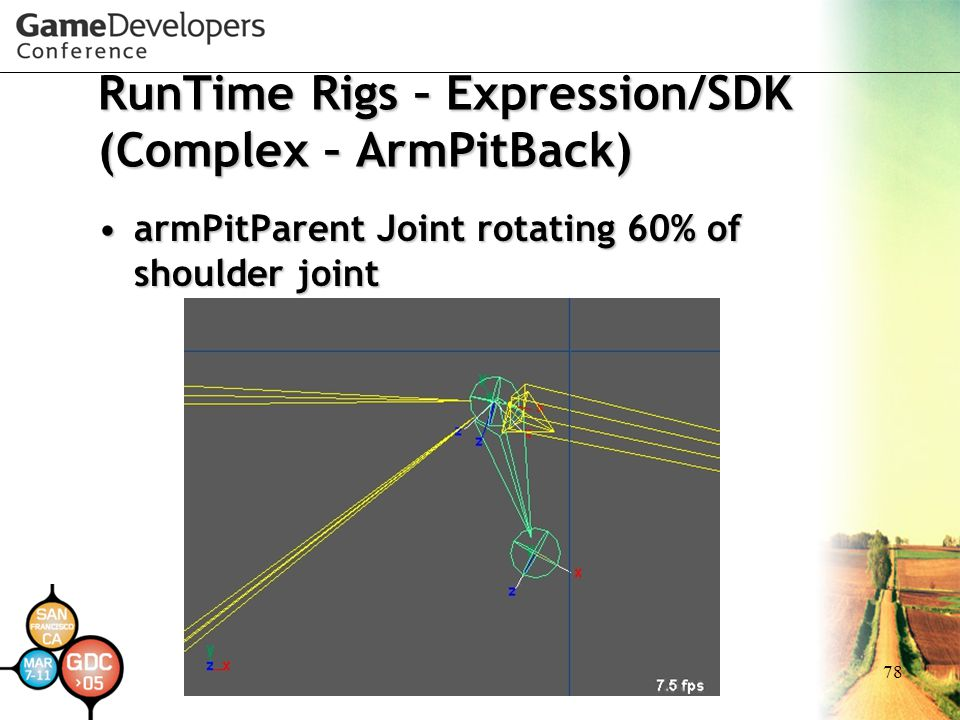 78 RunTime Rigs – Expression/SDK (Complex – ArmPitBack) armPitParent Joint rotating 60% of shoulder jointarmPitParent Joint rotating 60% of shoulder j