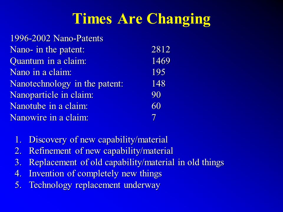 Nano-Patenting Trends Patents containing nano Nano-patents in the exponential phase moving into application development and the second wave of patenting Commercialization potential is broad – multi facilitated field The Business Review – 2003 Small is big and it s getting bigger