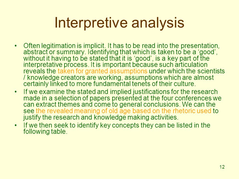 12 Interpretive analysis Often legitimation is implicit.