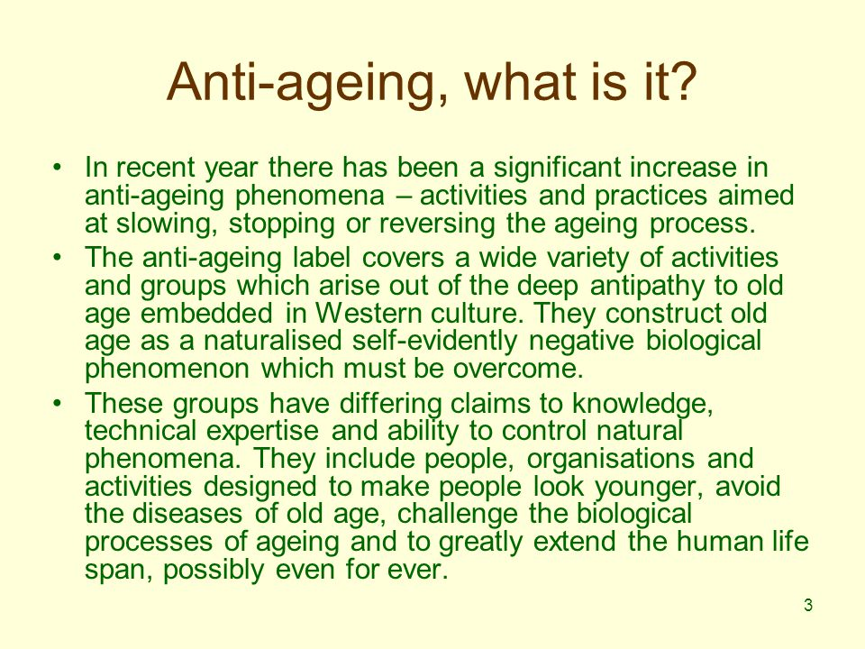 14 Anti-ageing discourse – emergent themes for characterisation of ageing.