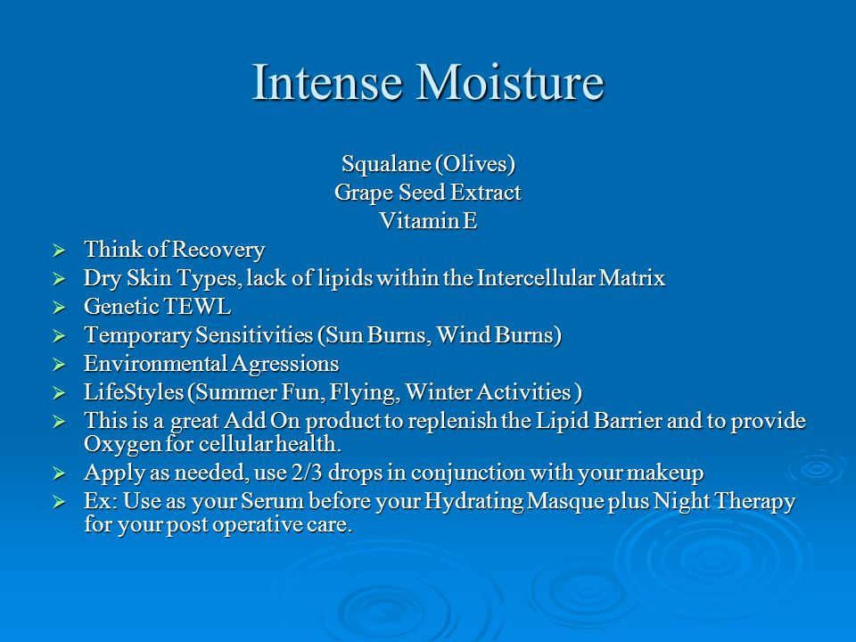 Intense Moisture Squalane (Olives) Grape Seed Extract Vitamin E  Think of Recovery  Dry Skin Types, lack of lipids within the Intercellular Matrix 