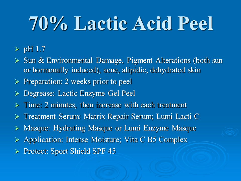 70% Lactic Acid Peel  pH 1.7  Sun & Environmental Damage, Pigment Alterations (both sun or hormonally induced), acne, alipidic, dehydrated skin  Pr
