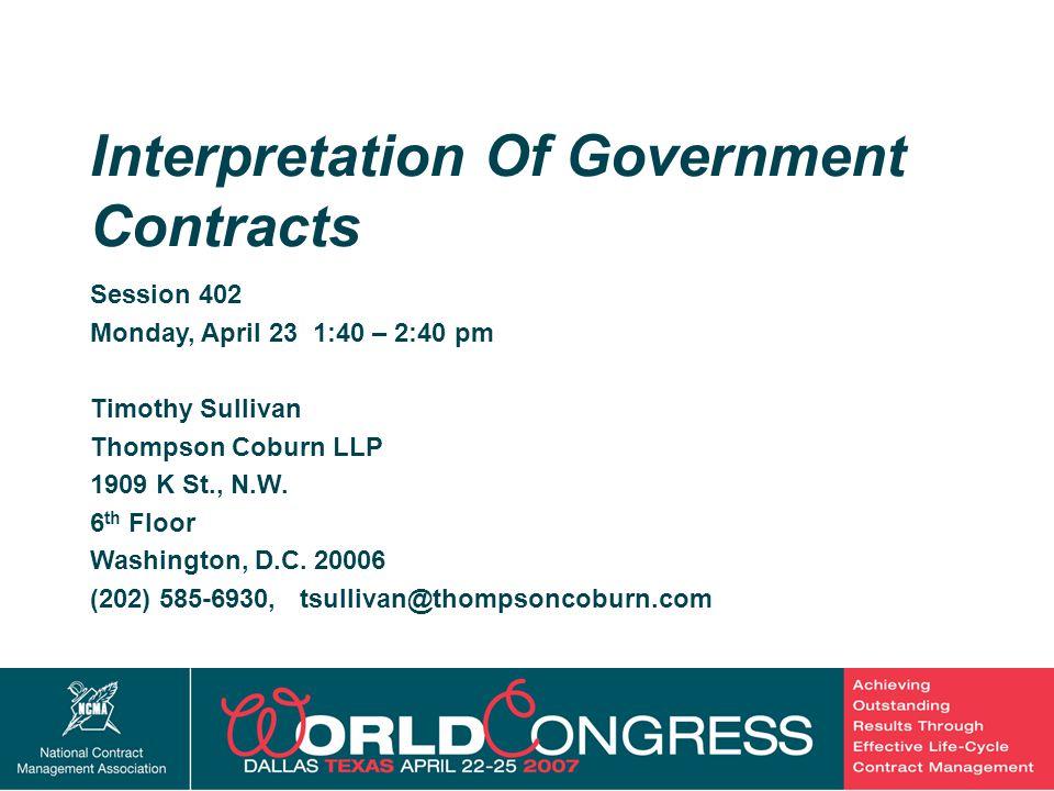 2 Session 402 Monday, April 23 1:40 – 2:40 pm Timothy Sullivan Thompson Coburn LLP 1909 K St., N.W.