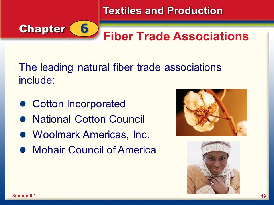 Textiles and Production 19 Fiber Trade Associations The leading natural fiber trade associations include: Section 6.1 Cotton Incorporated National Cot