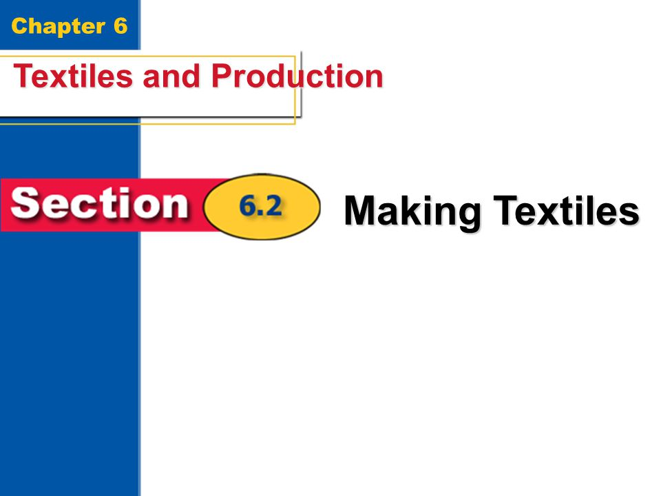 Textiles and Production 21 Chapter 6 Textiles and Production Making Textiles