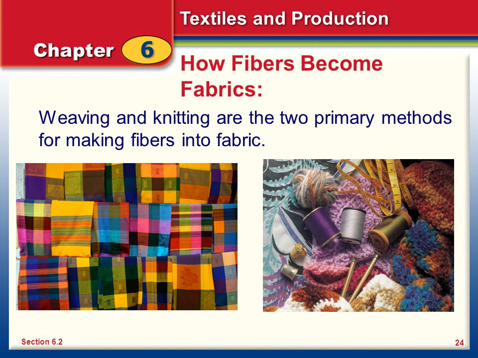 Textiles and Production 24 How Fibers Become Fabrics: Weaving and knitting are the two primary methods for making fibers into fabric. Section 6.2