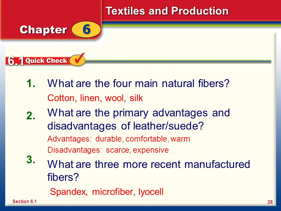 Textiles and Production 28 What are the four main natural fibers? Cotton, linen, wool, silk What are the primary advantages and disadvantages of leath