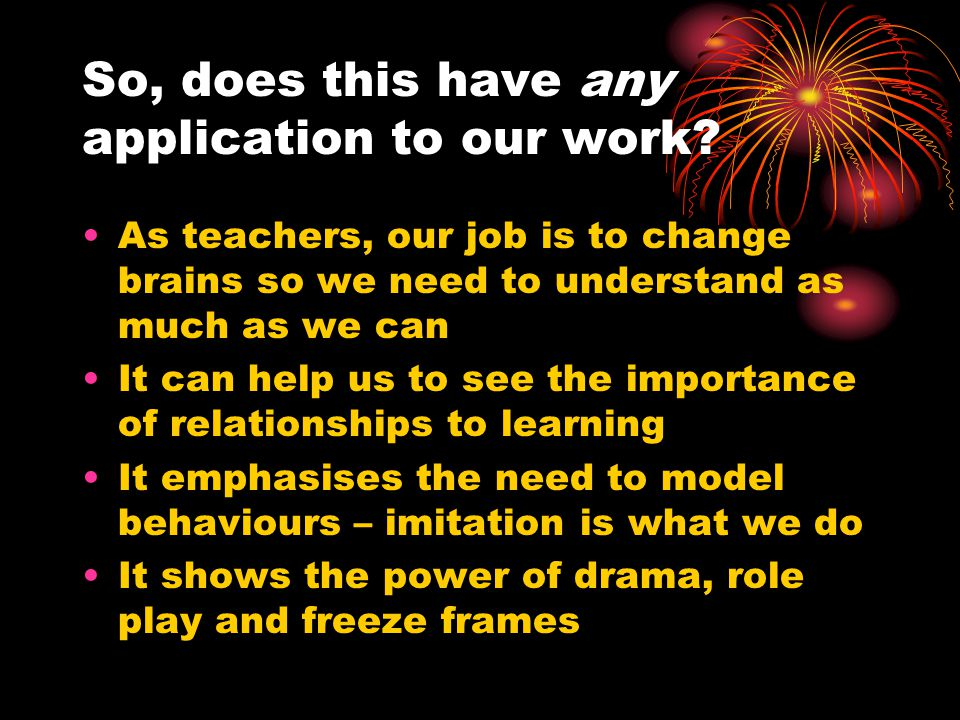 So, does this have any application to our work.