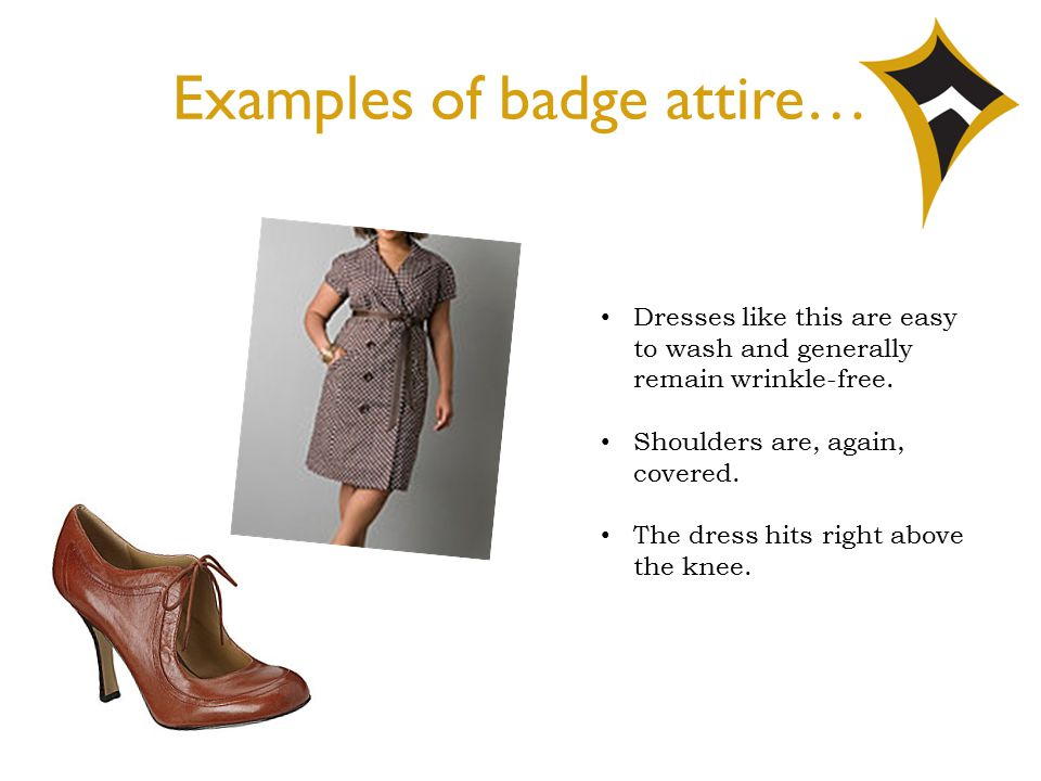 Examples of badge attire… Dresses like this are easy to wash and generally remain wrinkle-free. Shoulders are, again, covered. The dress hits right ab