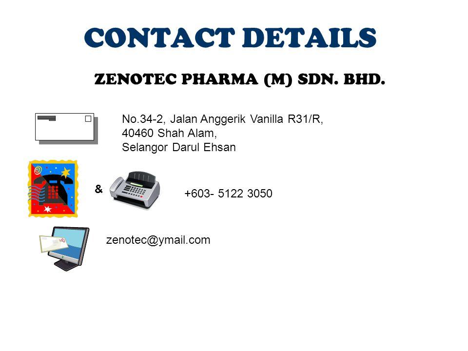 CONTACT DETAILS ZENOTEC PHARMA (M) SDN. BHD.