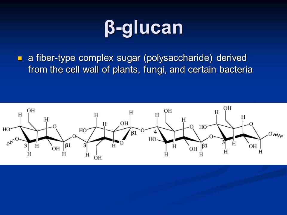 β-glucan a fiber-type complex sugar (polysaccharide) derived from the cell wall of plants, fungi, and certain bacteria a fiber-type complex sugar (polysaccharide) derived from the cell wall of plants, fungi, and certain bacteria