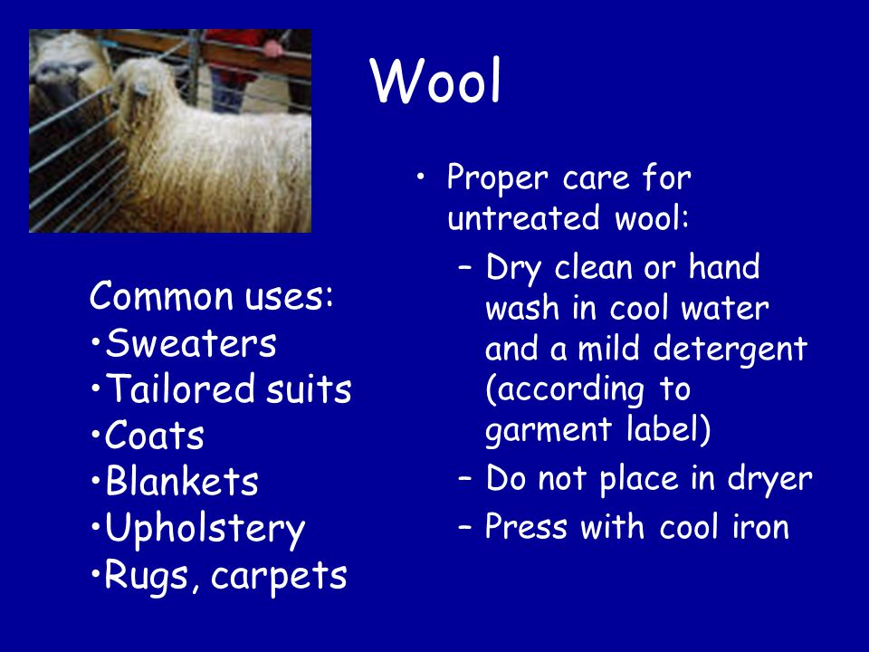 Wool Proper care for untreated wool: –Dry clean or hand wash in cool water and a mild detergent (according to garment label) –Do not place in dryer –Press with cool iron Common uses: Sweaters Tailored suits Coats Blankets Upholstery Rugs, carpets