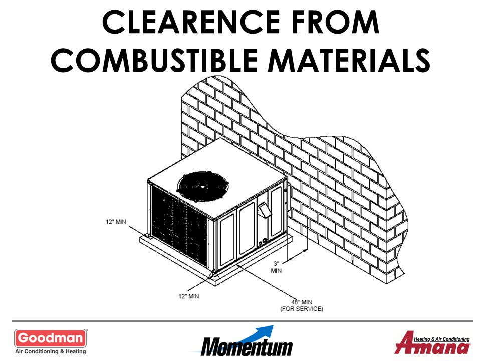CLEARENCE FROM COMBUSTIBLE MATERIALS
