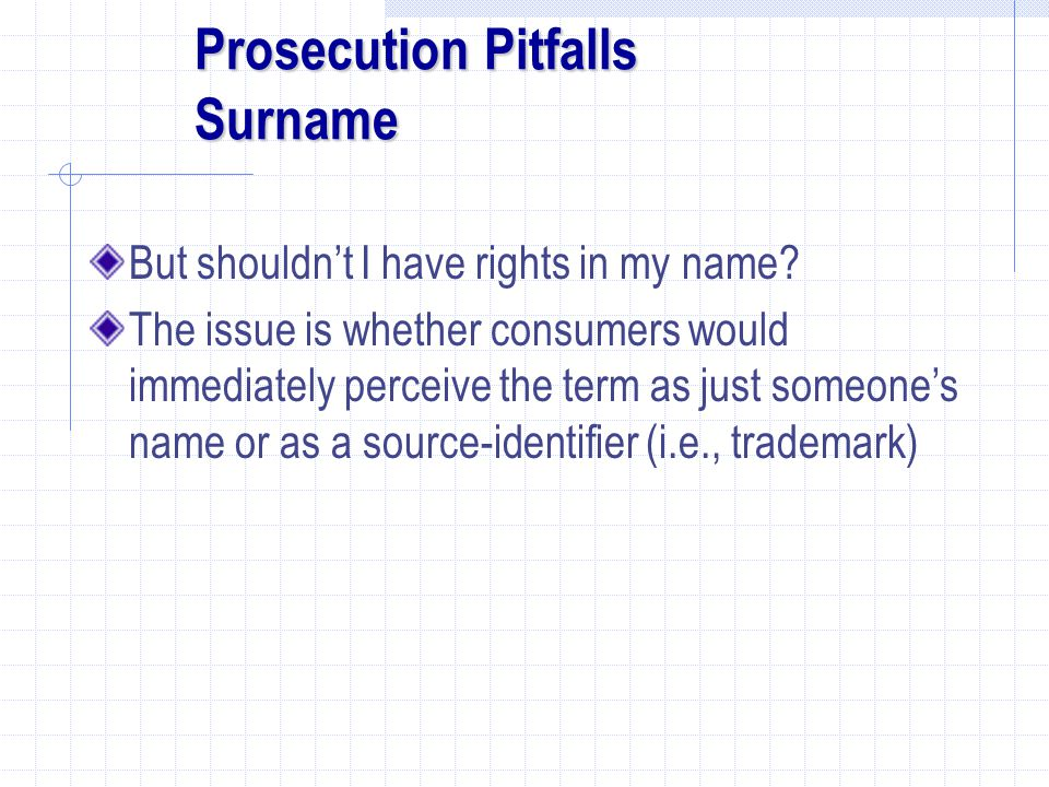Prosecution Pitfalls Surname But shouldn't I have rights in my name.