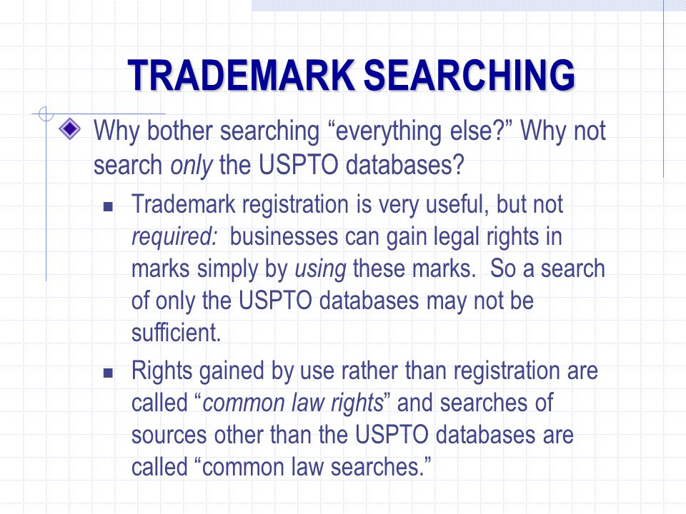 Why bother searching everything else? Why not search only the USPTO databases.