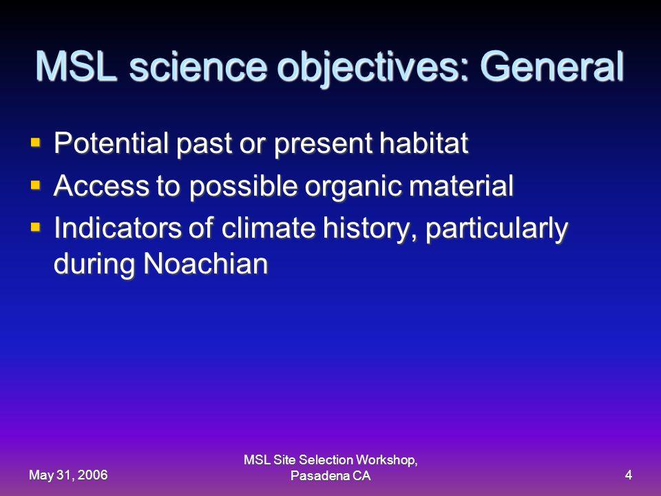 May 31, 2006 MSL Site Selection Workshop, Pasadena CA15 sample MSL GIS combined science/engineering model