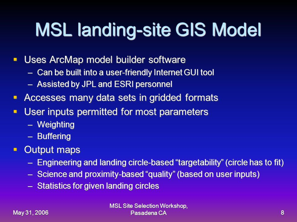 May 31, 2006 MSL Site Selection Workshop, Pasadena CA8 MSL landing-site GIS Model  Uses ArcMap model builder software –Can be built into a user-friendly Internet GUI tool –Assisted by JPL and ESRI personnel  Accesses many data sets in gridded formats  User inputs permitted for most parameters –Weighting –Buffering  Output maps –Engineering and landing circle-based targetability (circle has to fit) –Science and proximity-based quality (based on user inputs) –Statistics for given landing circles