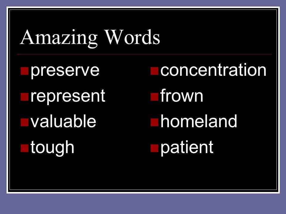 Amazing Words preserve represent valuable tough concentration frown homeland patient