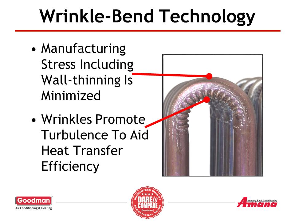 Wrinkle-Bend Technology Manufacturing Stress Including Wall-thinning Is Minimized Wrinkles Promote Turbulence To Aid Heat Transfer Efficiency