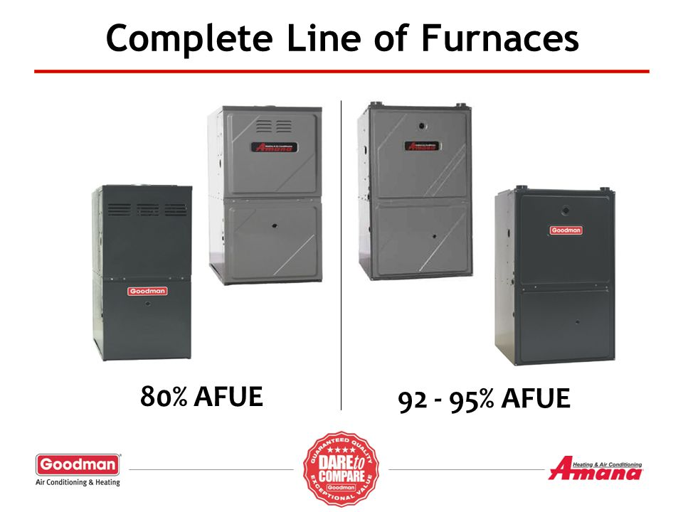 Complete Line of Furnaces 92 - 95% AFUE 80% AFUE