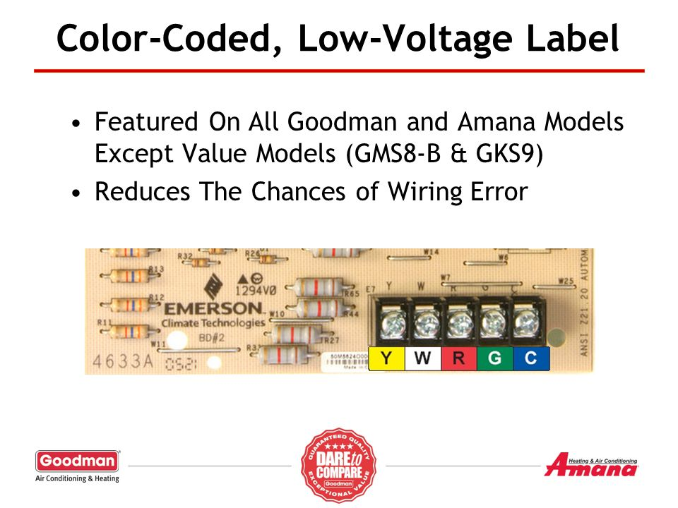 Featured On All Goodman and Amana Models Except Value Models (GMS8-B & GKS9) Reduces The Chances of Wiring Error Color-Coded, Low-Voltage Label