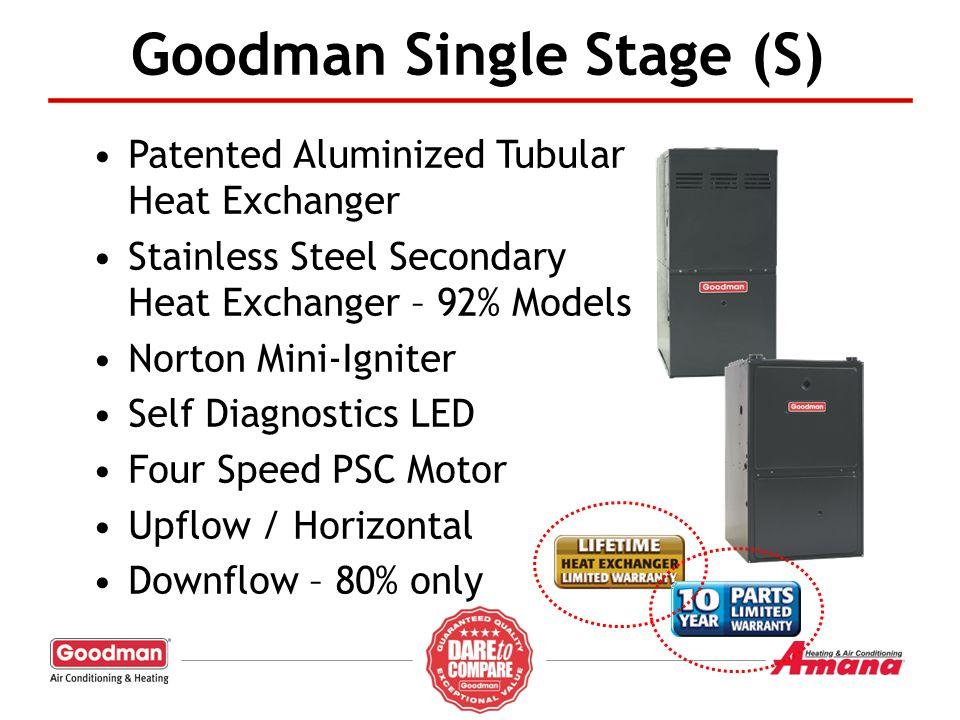 Goodman Single Stage (S) Patented Aluminized Tubular Heat Exchanger Stainless Steel Secondary Heat Exchanger – 92% Models Norton Mini-Igniter Self Dia