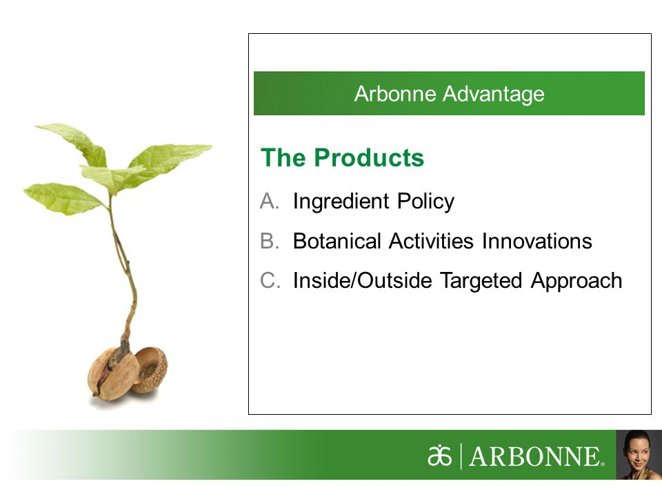 Arbonne Advantage A.Ingredient Policy B.Botanical Activities Innovations C.Inside/Outside Targeted Approach The Products