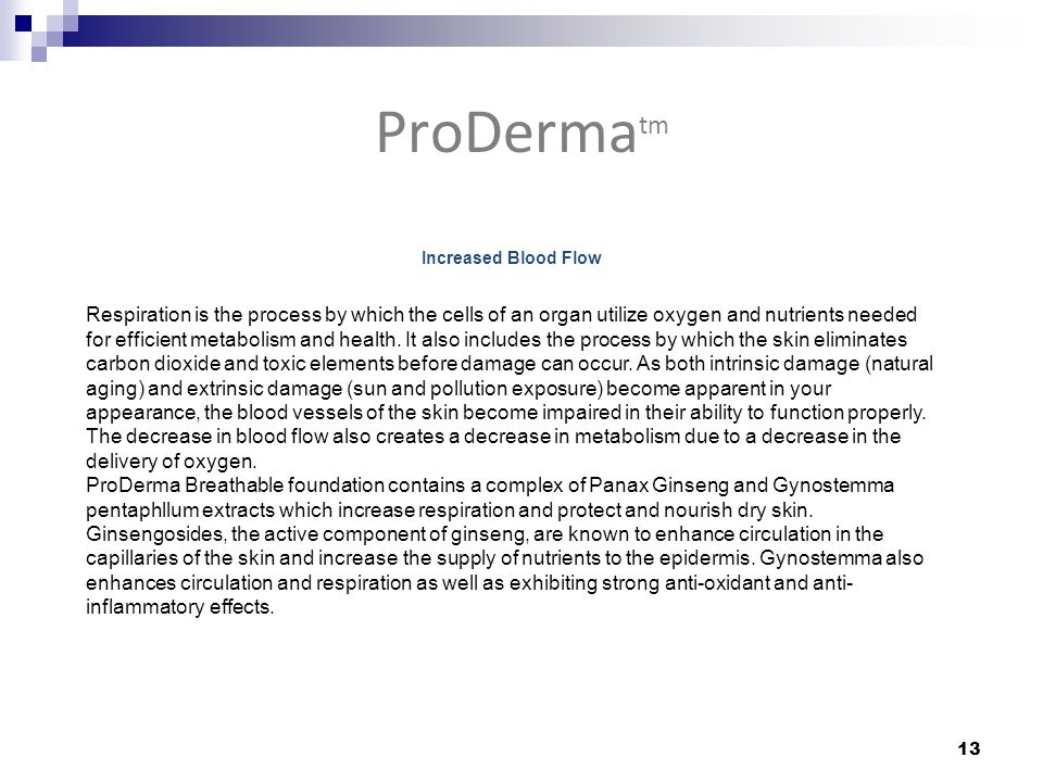 ProDerma tm 13 Increased Blood Flow Respiration is the process by which the cells of an organ utilize oxygen and nutrients needed for efficient metabolism and health.