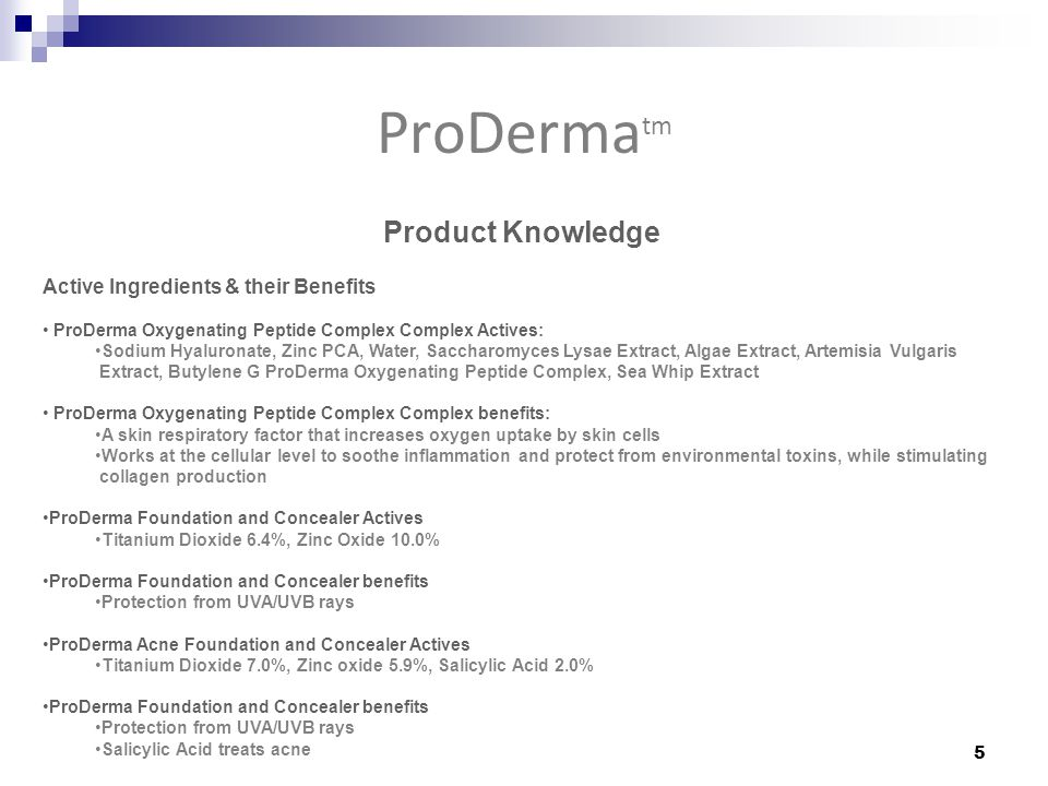 Product Knowledge Active Ingredients & their Benefits ProDerma Oxygenating Peptide Complex Complex Actives: Sodium Hyaluronate, Zinc PCA, Water, Saccharomyces Lysae Extract, Algae Extract, Artemisia Vulgaris Extract, Butylene G ProDerma Oxygenating Peptide Complex, Sea Whip Extract ProDerma Oxygenating Peptide Complex Complex benefits: A skin respiratory factor that increases oxygen uptake by skin cells Works at the cellular level to soothe inflammation and protect from environmental toxins, while stimulating collagen production ProDerma Foundation and Concealer Actives Titanium Dioxide 6.4%, Zinc Oxide 10.0% ProDerma Foundation and Concealer benefits Protection from UVA/UVB rays ProDerma Acne Foundation and Concealer Actives Titanium Dioxide 7.0%, Zinc oxide 5.9%, Salicylic Acid 2.0% ProDerma Foundation and Concealer benefits Protection from UVA/UVB rays Salicylic Acid treats acne ProDerma tm 5