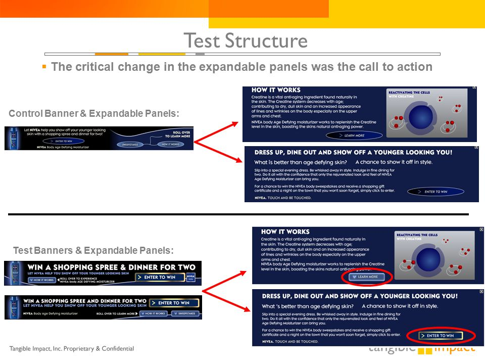 Test Structure  The critical change in the expandable panels was the call to action Control Banner & Expandable Panels: Test Banners & Expandable Panels: