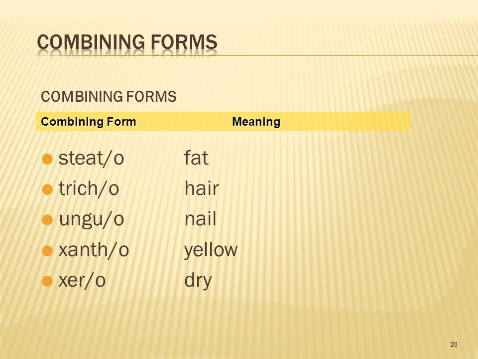 20 COMBINING FORMS  steat/ofat  trich/ohair  ungu/onail  xanth/oyellow  xer/odry Combining FormMeaning
